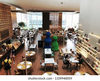 Bangkok Thailand; 10 June 2018: The Open House is a fit for all space curated to serve everybody's tastes. Designed by Tokyo, Japan. The interior is one-of-a-kind and design of a Coffee shop, cafe.