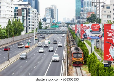 Bangkok Thailand 10 may 2017: The oil crude train No.640 was passing near the expressway and go to the oil tank farm in the center of Bangkok Tank farm and