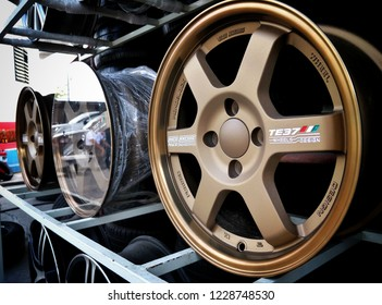 Bangkok, Thailand 10 Nov 18:TE37 Alloy whells on the shop shelves with metal disks for automobile wheels.