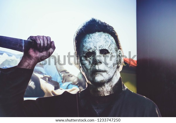 Bangkok Thailand : 10 November 2018 The Michael Myers (the shape) 1978 movie Halloween. He holding a knife Displays at the Theater.