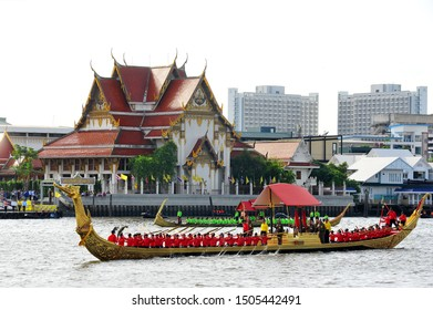 BANGKOK, THAILAND – 10  SEPTEMBER 2019 : The training of the Royal Barges Procession, the last royal ceremony of the Royal Coronation Ceremony Of King Rama X.