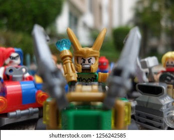 Bangkok, Thailand - 11 Dec 2018: Lego Mighty Micro Loki minifigure driving his car among his friends