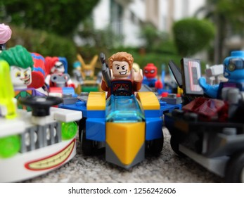 Bangkok, Thailand - 11 Dec 2018: Lego Mighty Micro Star Lord minifigure driving his car among his friends