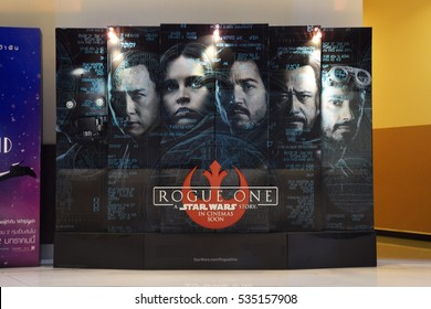 Bangkok, Thailand - 11 December, 2016: Beautiful Standee of Rogue One: A Star Wars Story at the theater