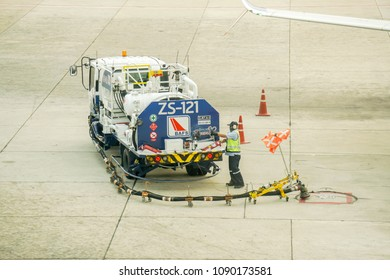 Bangkok, Thailand 11 February 2018 : Refueling truck for airplane parked and waiting refuel the airplane on ground in the airport.