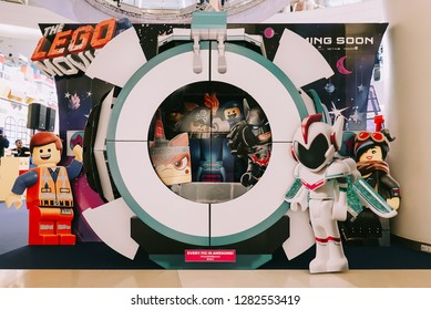 BANGKOK, THAILAND, 11 JAN 2019 - A beautiful standee of a movie called The Lego Movie 2 display showing at cinema.