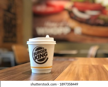 Bangkok Thailand 11 January 2021 : Burger King coffee cup on table in restaurant