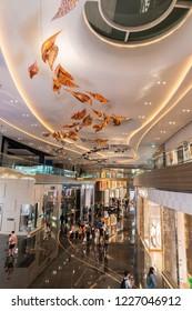 BANGKOK, THAILAND. 11 NOV, 2018. INSIDE VIEW OF ICONSIAM DEPARTMENT STORE. ICONSIAM IS LUXURY SHOPPING CENTER STORE AT CHAO PHRAYA RIVER  IN THAILAND