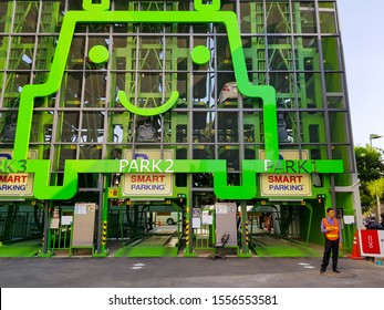 Bangkok, Thailand 11 Nov 2019. Smart car park using rotary lift innovate system create more multiple space and increase number of parking lot. Solution for small or narrow parking area in urban city