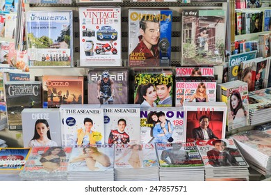 BANGKOK THAILAND - 12 DEC 2014 : Sample of Magazines sell in a book store on December 12, 2014 in Bangkok,Thailand.
