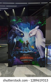 Bangkok, Thailand - 12 January 2019 - A Beautiful Standee of An Animation Movie How To Train Your Dragon 3 The Hidden World displays at the theater