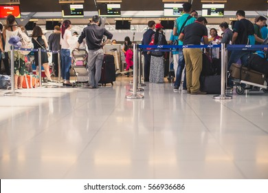 Bangkok, Thailand - 12 November 2016: people waiting in line to check in at the Suvarnabhumi airport