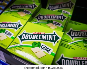 Bangkok, Thailand 12/9/2019 DOUBLE MINT chewing gum is available in Thailand, manufactured by The Wrigley Company, headquartered in Chicago. United States