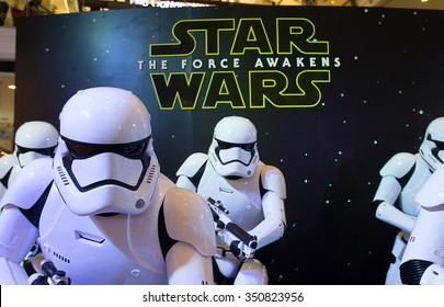 Bangkok, Thailand - 13 December 2015 : The Starwars display for promote movie 'Starwars 7 : The force awakens at Central world, Bangkok, Thailand.