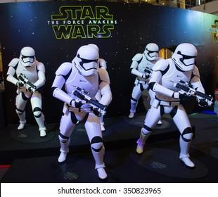 Bangkok, Thailand - 13 December 2015 : The Starwars display for promote movie 'Starwars 7 : The force awakens at Central world, Bangkok, Thailand.