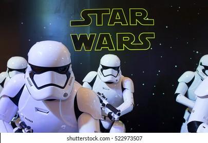 Bangkok, Thailand - 13 December 2015 : Storm trooper display for promote movie 'Starwars'  at Central world, Bangkok, Thailand.