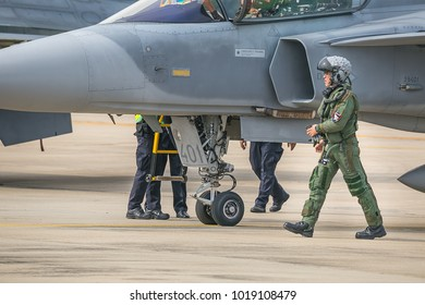 Bangkok, Thailand : 13 January 2018 - Thai Royal Air Force smart Pilot of plane Gripen and F-16 show in Children's Day Child have fun