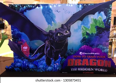Bangkok, Thailand - 13 January 2019 - A Beautiful Standee of An Animation Movie How To Train Your Dragon 3 The Hidden World displays at the theater
