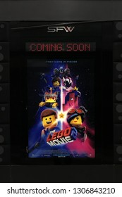 Bangkok, Thailand - 13 January 2019 - A Poster of A 3D computer-animated adventure comedy Movie The Lego Movie 2: The Second Part displays at the theater