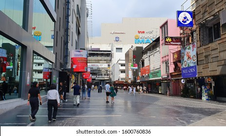 Bangkok ,Thailand - 13 November ,2019 : Crowd walking around at Siam square area. Siam square is a popular shopping mall among teen and tourists.