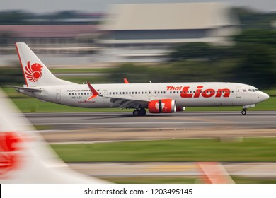 Bangkok Thailand 13 Oct 2018: Thai lion Air Boeing 737 MAX 9 which is the first airline use Boeing 737 max 9 was landing in Don muang international airport.