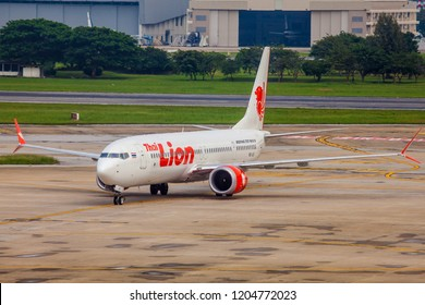Bangkok Thailand 13 Oct 2018: Thai lion Air Boeing 737 MAX 9 which is the first airline use Boeing 737 max 9 was taxing to terminal in Don muang international airport.