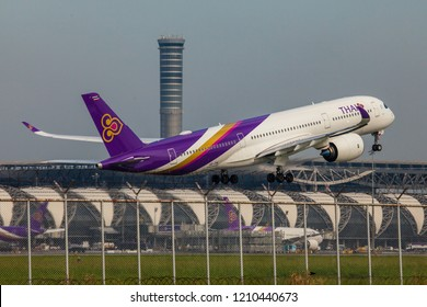 Bangkok Thailand 13 Oct 2018: Thai Airways Airbus A350-900XWB was taking off in Suwannabhum international airport.