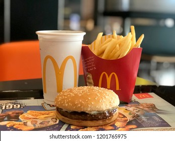 Bangkok Thailand 13 October 2018 : Mcdonald's hamburger, French fried and coca cola in Mcdonald's restaurant. Fast food business background