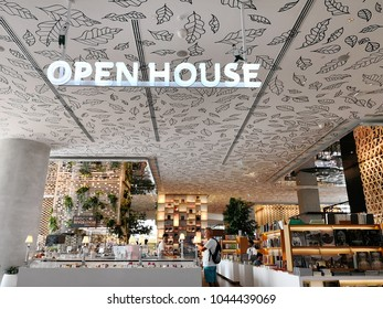BANGKOK, THAILAND - 14 FEB 2018: Modern interior of Open House Co-living space at 6th floor, Central Embassy Bangkok, Thailand. Central Embassy is a luxury mall in the center of Bangkok.