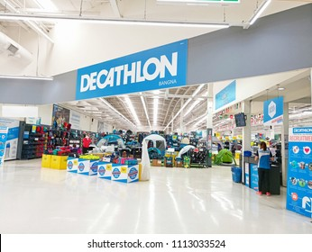 Bangkok, THAILAND - 14 JUNE 2018:DECATHLON BANGNA ,View of Decathlon Shop front of Bangna Branch,The Sport Complex, at TESCO Lotus Super Department store Bangna Branch , Thailand