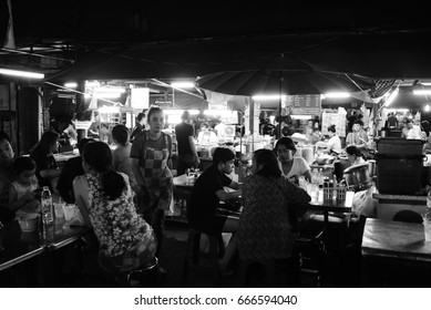"Bangkok Thailand, 14 May 2017 -Local street food market at  ""talat phlu"" train station"