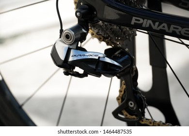 Bangkok, Thailand - 15 July 2019 : Dura-ace rear derailleur is a high-level equipment part that cyclists choose to use.