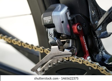 Bangkok, Thailand - 15 July 2019 : Dura-ace front derailleur is a high-level equipment part that cyclists choose to use.