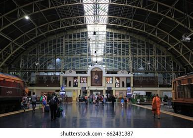 BANGKOK THAILAND - 15  June 2017 : Bangkok Railway Station (Hua Lamphong Railway Station) in Bangkok,Thailand.selective focus.