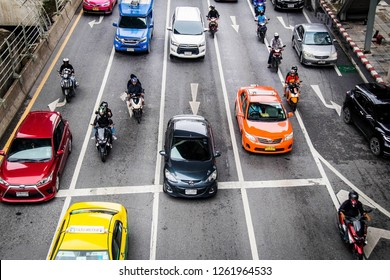 Bangkok, Thailand 15 Sep 2018 : Top view of cars and traffic congestion during the capital of Thailand.