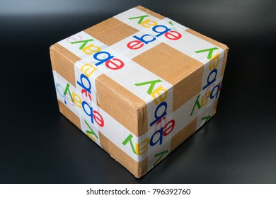 Bangkok, Thailand 16, 2018: Brown paper box ebay packaging delivered with security scotch tape to safe and protect for international shipping program.