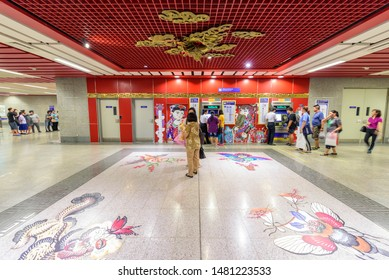 Bangkok , Thailand -  16 Aug, 2019 : Beautifull Dragon Wall sculpture of Wat Mangkon Station of New  MRT electric train in Thailand