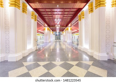 Bangkok , Thailand -  16 Aug, 2019 : Beautiful architecture design Thai style inside Sanamchai station of MRT train