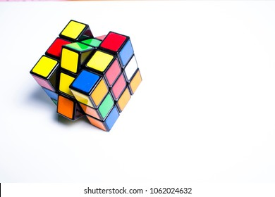 Bangkok, Thailand, 16 December 2017, Rubik's cube  on wood texture background, Rubik's cube invented by a Hungarian architect Erno Rubik in 1974