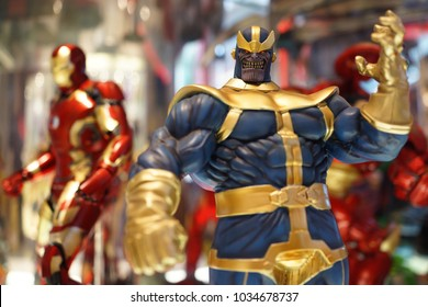 BANGKOK, THAILAND - 16 FEB 2018: Close up shot of Thanos figure model in Avengers movie. Thanos is a fictional supervillain appearing in American comic books published by Marvel Comics.