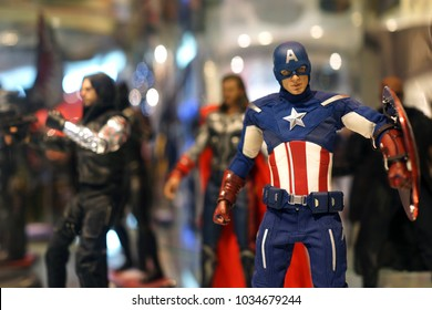 BANGKOK, THAILAND - 16 FEB 2018: Close up shot of Captain America figure model on store shelf. Captain America is a fictional character appearing in American Marvel comic books.