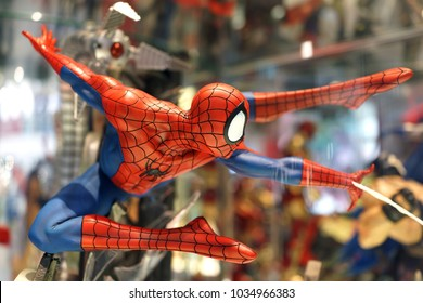 BANGKOK, THAILAND - 16 FEB 2018: Close up shot of Spiderman Avengers superheroes figures on display shelf. The Avengers are a fictional team of superheroes appearing in American comic books by Marvel.