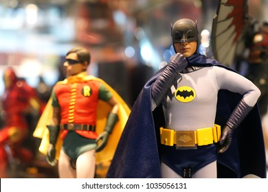 BANGKOK, THAILAND - 16 FEB 2018: A Character of Batman DC Multiverse Series action figure on store shelf. DC Comics is one of the largest and oldest American comic book companies.