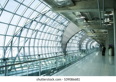BANGKOK, THAILAND - 16 FEBRUARY 2011 : The main concourse of Suvarnabhumi Airport, designed by Helmut Jahn is the world's third largest single-building airport terminal, Bangkok, Thailand
