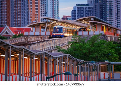 Bangkok - Thailand 16 July 2019: BTS Mo Chit Railway Station And an overpass to connect with the station