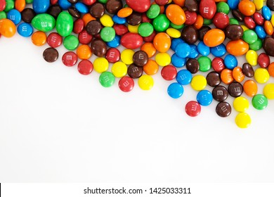 Bangkok, Thailand. 16 June, 2019 : Photo of M&M's . Chocolate brand M&M's are colorful button-shaped chocolates produced