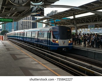 BANGKOK, THAILAND - 16 OCTOBER 2017: people waiting to get BTS Sky train on platform  Mo Chit Station (N8) in morning time rush hour
