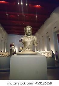 Bangkok, Thailand, 16th July 2016; old stone buddha show in National Museum Bangkok
