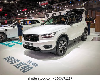 Bangkok Thailand 17 Aug 2019: Volvo XC40 white color model 2019 in Big Motor Sale exhibitions in Bangkok, Thailand