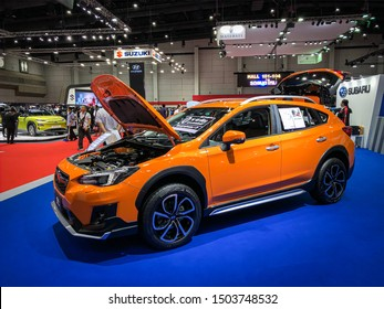 Bangkok Thailand 17 Aug 2019: Subaru XV orange color model 2019 in Big Motor Sale exhibitions in Bangkok, Thailand